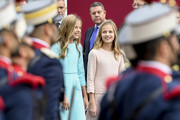 Princess Leonor and Princess Sofia attend the National Day Military Parade on October 12, 2019 in Madrid, Spain.