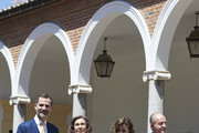 (L-R) King Felipe VI of Spain, Princess Sofia of Spain, Queen Sofia, Princess Leonor of Spain, Queen Letizia of Spain and King Juan Carlos pose for the photographers after the First Communion of Princess Leonor of Spain at the Asuncion de Nuestra Senora Church on May 20, 2015 in Madrid, Spain.
