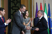 Pascua Ortega (r) receives the Gold Medal of Merit in Fine Arts 2017 from King Felipe VI of Spain and Queen Letizia of Spain on February 18, 2018 in Cordoba, Spain.