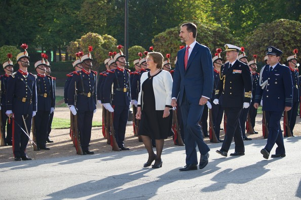 King Felipe VI of Spain receive Chilean President Michelle Bachelet at the El Pardo Palace on October 29, 2014 in Madrid, Spain.
