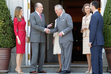 Prince of Asturias Spanish Royals Receive Prince Charles and the Duchess of Cornwall at Zarzuela Palace