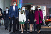 King Felipe VI of Spain, Queen Letizia of Spain, Crown Princess Leonor of Spain (L) and Princess Sofia of Spain (R) are seen visiting 'FPAbrica', the Old Weapon Factory of La Vega on October 15, 2020 in Oviedo, Spain. This set of industrial buildings is hosting the cultural activities programmed for this year to tribute the winners from 2019.