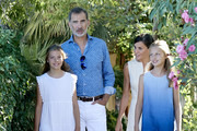 King Felipe VI of Spain, Queen Letizia of Spain, Princess Leonor of Spain (R) and Princess Sofia of Spain (L1) visit 'Son Marroig' museum on August 08, 2019 in Palma de Mallorca, Spain.