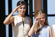 Queen Letizia of Spain and Princess Leonor of Spain visit 'Son Marroig' museum on August 08, 2019 in Palma de Mallorca, Spain.