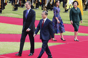 King Felipe VI (L) of Spain and South Korean President Moon Jae-in (R) walk towards a guard of honor during a welcoming ceremony at the presidential Blue House on October 23, 2019 in Seoul, South Korea. King Felipe VI of Spain and Queen Letizia of Spain are visiting South Korea for two days to discuss bilateral cooperation in sectors including economy and trade.