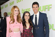 "(L-R)  Actors Bella Thorne, Mae Whitman, and Robbie Amell attend a special Los Angeles fan screening of ""THE DUFF"" on February 12, 2015 in Los Angeles, California."