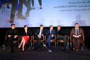 """(L-R) Henry Golding, Michelle Dockery, Hugh Grant, Charlie Hunnam, Matthew McConaughey, and Guy Ritchie speak onstage during the Special NY Screening of """"The Gentlemen"""" at the Alamo Drafthouse on January 11, 2020 in New York City."""