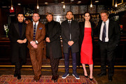 """(L-R) Henry Golding, Guy Ritchie, Matthew McConaughey, Charlie Hunnam, Michelle Dockery, and Hugh Grant attend the Special NY Screening of """"The Gentlemen"""" at the Alamo Drafthouse on January 11, 2020 in New York City."""