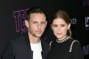 """Jamie Bell (L) and Kate Mara attend a special screening of Bleecker Street's """"Teen Spirit"""" ArcLight Hollywood on April 02, 2019 in Hollywood, California."""