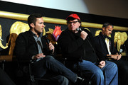 (L-R) Former soldier Russell Baer, filmmaker Michael Moore and producer John Battsek  participate in a discussion following a special screening of The Weinstein Company's The Tillman Story at AMC Loews Lincoln Square 13 on August 11, 2010 in New York City.