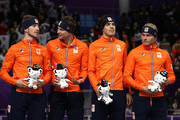 Bronze medalists Koen Verweij, Patrick Roest, Sven Kramer and Jan Blokhuijsen of the Netherlands stand on the podium during the victory ceremony after the Speed Skating Men's Team Pursuit finals on day 12 of the PyeongChang 2018 Winter Olympic Games at Gangneung Oval on February 21, 2018 in Gangneung, South Korea.