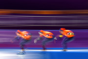 Jan Blokhuijsen, Patrick Roest and Sven Kramer of the Netherlands compete during the Speed Skating Men's Team Pursuit Final B against New Zealand on day 12 of the PyeongChang 2018 Winter Olympic Games at Gangneung Oval on February 21, 2018 in Gangneung, South Korea.