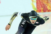 Keiichiro Nagashima of Japan competes during the Men's 500 m Race 2 of 2 Speed Skating event during day three of the Sochi 2014 Winter Olympics at Adler Arena Skating Center on February 10, 2014 in Sochi.
