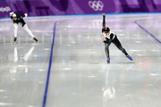Miho Takagi of Japan crosses the finish line ahead of Heather Bergsma of The United States during the Ladies 1,500m Long Track Speed Skating final on day three of the PyeongChang 2018 Winter Olympic Games at Gangneung Oval on February 12, 2018 in Gangneung, South Korea.