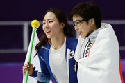 (L-R) Silver medalist Sang-Hwa Lee of Korea and gold medalist Nao Kodaira of Japan celebrate after the Ladies' 500m Individual Speed Skating Final on day nine of the PyeongChang 2018 Winter Olympic Games at Gangneung Oval on February 18, 2018 in Gangneung, South Korea.