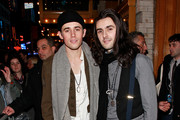 """Actor Reeve Carney and musician Zane Carney leave the theater after the opening night preview of """"Spider-Man: Turn Off the Dark"""" at the Foxwoods Theater on November 28, 2010 in New York City."""