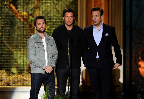 "(L-R)  Actors Charlie Day, Jason Bateman and Jason Sudeikis present an award onstage onstage during Spike TV's 5th annual 2011 ""Guys Choice"" Awards at Sony Pictures Studios on June 4, 2011 in Culver City, California."
