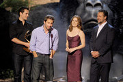 (L-R) Actor Henry Cavill, director Zack Snyder, and actors Amy Adams and Russell Crowe accept an award onstage during Spike TV's Guys Choice 2013 at Sony Pictures Studios on June 8, 2013 in Culver City, California.