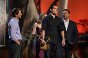 (L-R) Director Zack Snyder, actors Amy Adams, Henry Cavill, and Russell Crowe speak onstage during Spike TV's Guys Choice 2013 at Sony Pictures Studios on June 8, 2013 in Culver City, California.