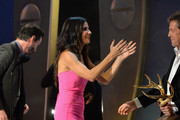 "(L-R) Actors Keanu Reeves, Sandra Bullock and Hugh Grant speak onstage during Spike TV's ""Guys Choice 2014"" at Sony Pictures Studios on June 7, 2014 in Culver City, California."