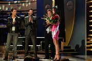 "(L-R) Actors Matthew McConaughey,  Keanu Reeves,  Hugh Grant, and the Winner of  Decade of Hotness Sandra Bullock speaks onstage during Spike TV's ""Guys Choice 2014"" at Sony Pictures Studios on June 7, 2014 in Culver City, California."