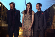 "Actors Joseph Gordon-Levitt, Anne Hathaway, and Gary Oldman accept an award onstage during Spike TV's ""SCREAM 2011"" awards held at Universal Studios on October 15, 2011 in Universal City, California."