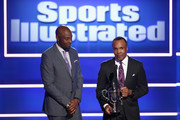 Jerry Rice (L) and Sugar Ray Leonard speak onstage at Sports Illustrated 2018 Sportsperson of the Year Awards Show on Tuesday, December 11, 2018 at The Beverly Hilton in Los Angeles. Tune in to NBCSN on Thursday, December 13, 2018 at 9pmET to watch the one hour Sports Illustrated Sportsperson of the Year Awards special.