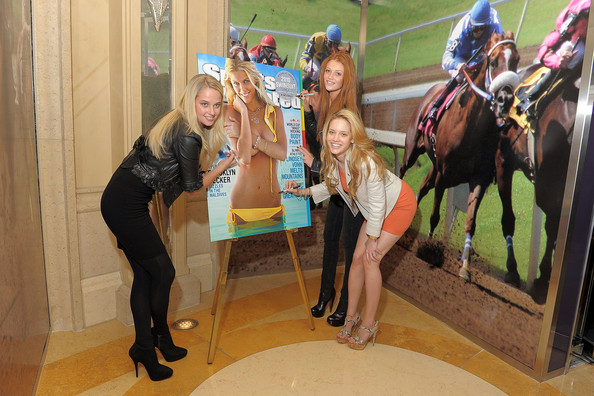 Sports Illustrated swimsuit models Genevieve Morton, Cintia Dicker and Julie Ordon attend the Sports Illustrated Swimsuit 24/7: Appearance At Lagasse's Stadium at The Palazzo on February 11, 2010 in Las Vegas, Nevada.