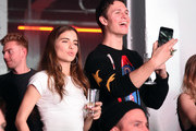 """Violetta Komyshan and Ansel Elgort attend """"Spotify's Best New Artist Party"""" at Skylight Clarkson on January 25, 2018 in New York City."""