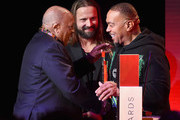 (L-R) Quincy Jones, Max Martin, and Timbaland speak onstage during Spotify's Secret Genius Awards Hosted By NE-YO at The Theatre at Ace Hotel on November 16, 2018 in Los Angeles, California.