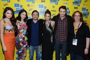 """(L-R) Actress Selena Gomez, actress Rachel Korine, director Harmony Korine, actress Ashley Benson and actor James Franco, Janet Pierson, producer SXSW Film Festival attend the green room for """"Spring Breakers"""" during the 2013 SXSW Music, Film + Interactive Festival""""  at the Paramount Theatre on March 10, 2013 in Austin, Texas."""