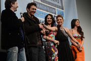 """(L-R) Director Harmony Korine, actor James Franco, actress Rachel Korine, actress Ashley Benson and actress Selena Gomez speak at the Q & A for """"Spring Breakers"""" during the 2013 SXSW Music, Film + Interactive at the Paramount Theatre on March 10, 2013 in Austin, Texas."""