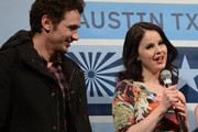 """Actor James Franco (L) and actress Rachel Korine speak at the Q & A for """"Spring Breakers"""" during the 2013 SXSW Music, Film + Interactive at the Paramount Theatre on March 10, 2013 in Austin, Texas."""