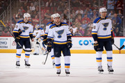 Vladimir Sobotka (C) #71 of the St. Louis Blues skates back to the bench with Patrik Berglund #21, Kyle Brodziak #28 and Colton Parayko #55 during the second period of the NHL game against the Arizona Coyotes at Gila River Arena on March 31, 2018 in Glendale, Arizona.