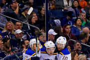 Vladimir Tarasenko #91 of the St. Louis Blues is congratulated by Jaden Schwartz #17 of the St. Louis Blues and Brayden Schenn #10 of the St. Louis Blues after scoring a goal during the second period fo the game against the Columbus Blue Jackets on March 24, 2018 at Nationwide Arena in Columbus, Ohio.