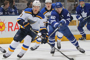 Vladimir Sobotka #71 of the St.Louis Blues tries to elude a checking Tyler Bozak #42 of the Toronto Maple Leafs during an NHL game at the Air Canada Centre on January 16, 2018 in Toronto, Ontario, Canada. The Blues defeated the Maple Leafs 2-1 in overtime.