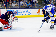 Sergei Bobrovsky #72 of the Columbus Blue Jackets stops a shot from Brayden Schenn #10 of the St. Louis Blues during the third period on March 24, 2018 at Nationwide Arena in Columbus, Ohio. St. Louis defeated Columbus 2-1.
