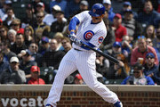 Anthony Rizzo #44 of the Chicago Cubs hits a single in the sixth inning against the St. Louis Cardinals at Wrigley Field on May 03, 2019 in Chicago, Illinois.