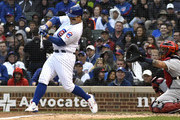 Anthony Rizzo #44 of the Chicago Cubs hits an RBI sacrifice fly ball against the St. Louis Cardinals during the fifth inning on September 28, 2018 at Wrigley Field  in Chicago, Illinois.