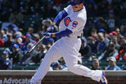 Anthony Rizzo #44 of the Chicago Cubs hits a run scoring single in the 2nd inning against the St. Louis Cardinals at Wrigley Field on April 19, 2018 in Chicago, Illinois.