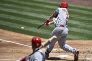Matt Holliday #7 of the St. Louis Cardinals hits a two RBI single during the third inning of a baseball game against the San Diego Padres at Petco Park July 31, 2014 in San Diego, California.