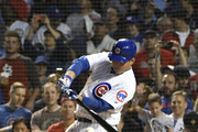 Anthony Rizzo #44 of the Chicago Cubs hits an RBI single against the St. Louis Cardinals during the sixth inning during game two of a doubleheader on July 21, 2018 at Wrigley Field  in Chicago, Illinois.