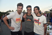 """(L-R) Rhett James McLaughlin and Charles Lincoln """"Link"""" Neal, III of Rhett + Link, and Tyler Posey attend the sixth biennial Stand Up To Cancer (SU2C) telecast at the Barkar Hangar on Friday, September 7, 2018 in Santa Monica, California."""