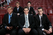 (L-R) NHL top prospects Taylor Hall, Cam Fowler, Tyler Seguin, Erik Gudbranson and Brett Connolly pose before Game Four of the 2010 NHL Stanley Cup Final at Wachovia Center on June 4, 2010 in Philadelphia, Pennsylvania.