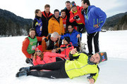 (L-R) Patrick Bach, Alena Gerber, Thomas Heinze, Joachim Llambl, Mareile Hoeppner, Miroslav Nemec, Matthias Opdenhoevel, Heio von Stetten, Oliver Mommsen, Ulla Kock am Brink, Lars Riedel and Marco Schreyl attend the photocall for the tv show Star Biathlon 2014 on January 30, 2014 in Garmisch-Partenkirchen, Germany.