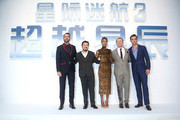 "Zachary Quinto,Director Justin Lin, Zoe saldana, Simon Pegg and Chris Pine(L-R)attend the red carpet event of the Paramount Pictures title ""Star Trek Beyond"" on August 18, 2016 at Indigo Mall in Beijing, China."