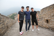 "(l-r) Chris Pine, Zachary Quinto and Simon Pegg  visit the Great Wall during the promotional tour of the Paramount Pictures title ""Star Trek Beyond"", on August 17, 2016 in Beijing, China."