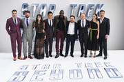"(L-R) Zachary Quinto, Karl Urban, Sofia Boutella, John Cho, Idris Elba, Justin Lin, Simon Pegg, Lydia Wilson and Chris Pine arrive for the UK premiere of ""Star Trek Beyond"" at Empire Leicester Square on July 12, 2016 in London, UK."