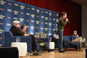 (L-R) Moderator, film critic Jordan Hoffman, and actors John Billingsley, Dominic Keating (standing) and Connor Trinneer from Star Trek: Enterprise take part in a panel discussion during Star Trek: Mission New York at Javits Center on September 2, 2016 in New York City.