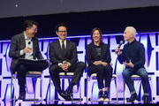 "(L-R) Moderator Stephen Colbert, Director J.J. Abrams, Producer Kathleen Kennedy and Anthony Daniels (C-3PO) onstage during ""The Rise of Skywalker"" panel at the Star Wars Celebration at McCormick Place Convention Center on April 12, 2019 in Chicago, Illinois."